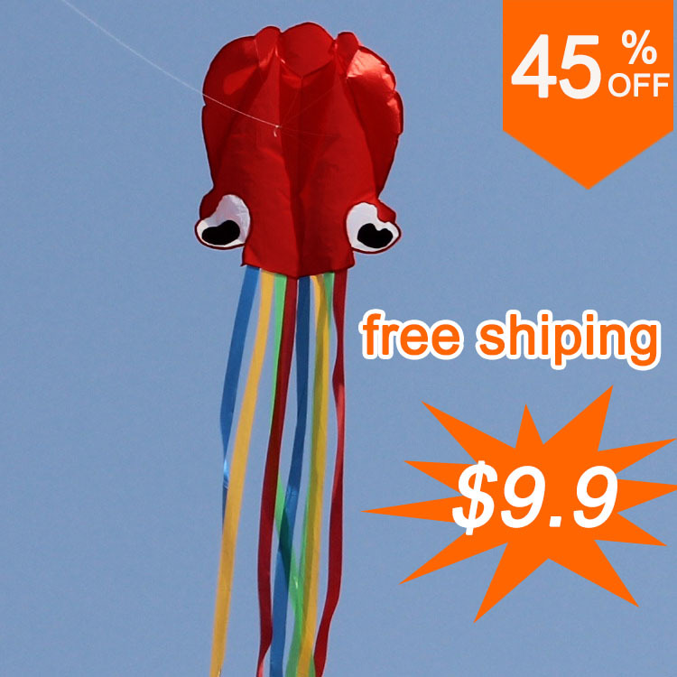 4m soft octopus kite,Inflatable and easy to fly,Weifang kite,Free shipping,Whole sale and hotsell,software kite(China (Mainland))