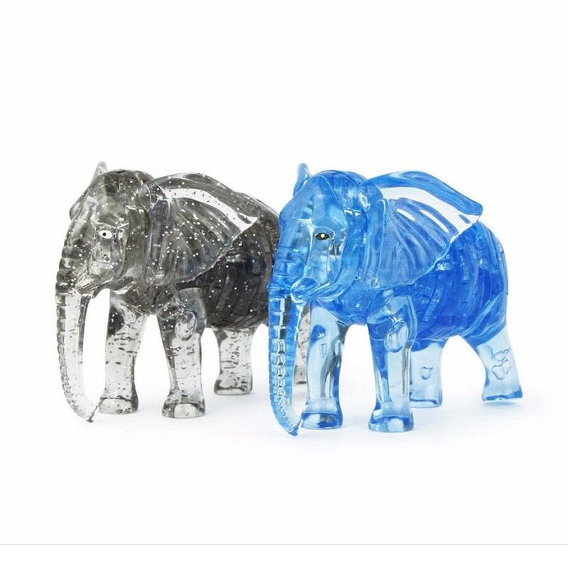 41pcs Elephant 3D Crystal puzzle DIY Assembling toys Blue transparent Plastic model Creative Christmas gift toys for children(China (Mainland))