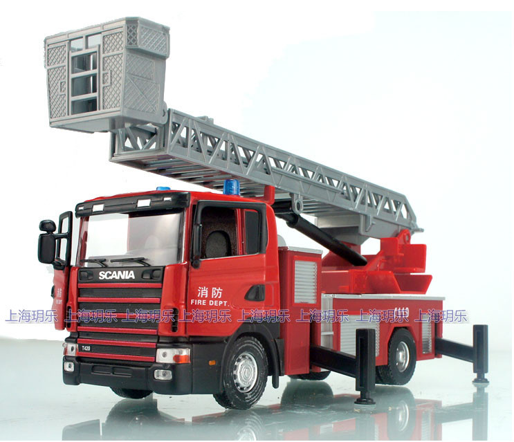 High Quality!! Sweden Scania Scaling ladder Fire truck 18*7*6CM 1:43 Alloy Vehicles Toys Gifts Models Collection(China (Mainland))