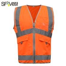 SFvest Новое поступление Здравствуйте vis orange/желтый светоотражающий жилет сетчатый отражающий жилет дышащая(China)