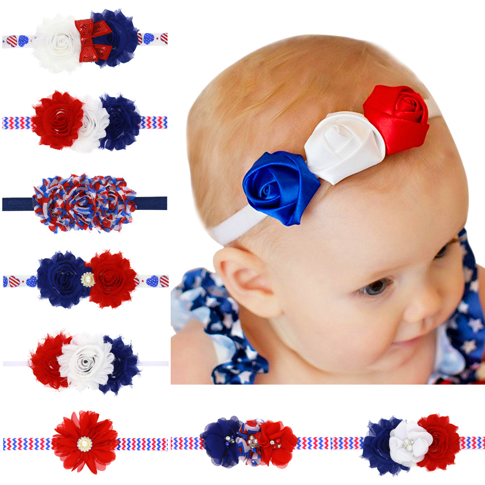 10pcs/lot 4th of July baby Headband American Flag chiffon Flower shabby satin rose flower Independence Day Kid Hair Accessories(China (Mainland))
