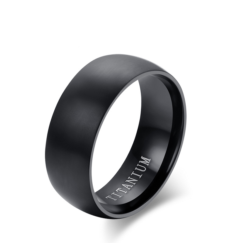 Titanium Rings For Men 8mm Cool Black Men' Ring Jewelry Wedding Engagement Male Gift(China (Mainland))