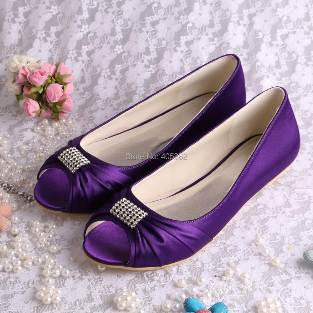 Bride Collections Crystal Ballerina Flat Party Bridal Shoes Purple Satin Open Toes Free Shipping(China (Mainland))