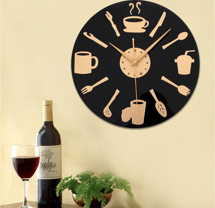 Aliexpresscom Buy Acrylic Wall Clock Quartz Kitchen  : Acrylic Wall Clock Quartz Kitchen Dining Room Decor Black Coffee Cup Fork Watch On Wall Modern from www.aliexpress.com size 752 x 729 jpeg 491kB