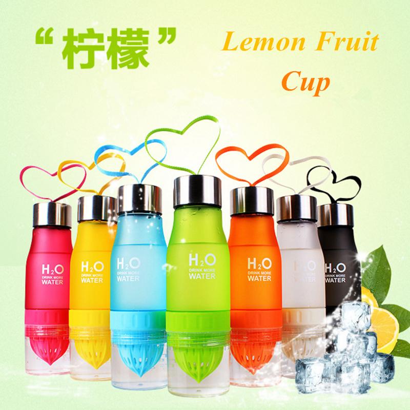 2016 New 650ml H2O Sport Water Bottle Juice 7 Colors Lemon Fruit Infuser Cup Drinkware Drink Bottle(China (Mainland))