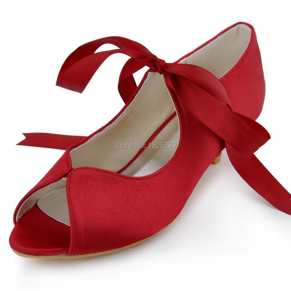 1000102 Burgundy Women Bridal Party Low Heels 1.5'' Prom ...