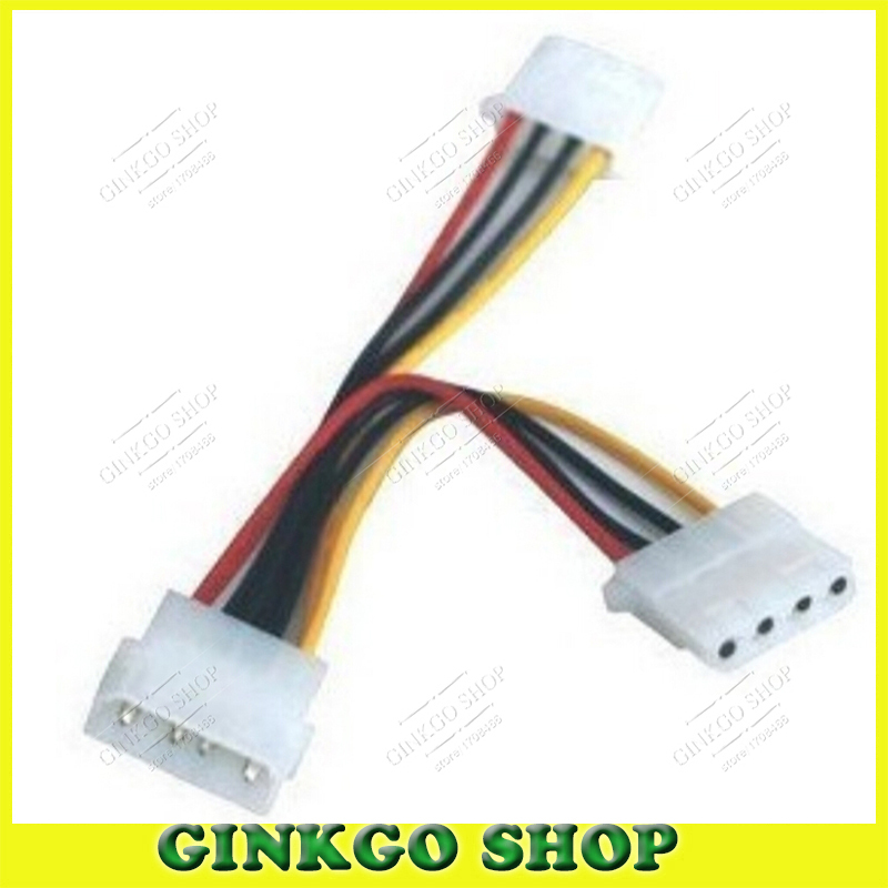 10pcs/lot D Type 4P to Dual 4P Power Supply Extension Cable 4Pin 1 to 2 Extened cord Free Shipping(China (Mainland))