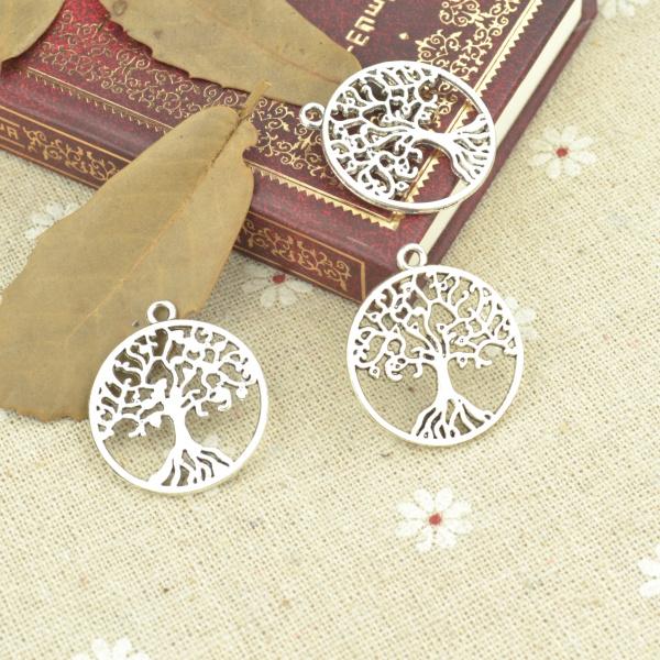 10pcs alloy Tibetan Silver Plated Tree life Charms Pendants Jewelry Making DIY Handmade Craft 29*26mm 21112