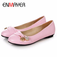 ENMAYER Women's Fashion Shoes Woman Flats Spring Shoes Large Size 4-14 Female Ballet Shoes  Metal Round Toe Solid Casual Shoes(China (Mainland))