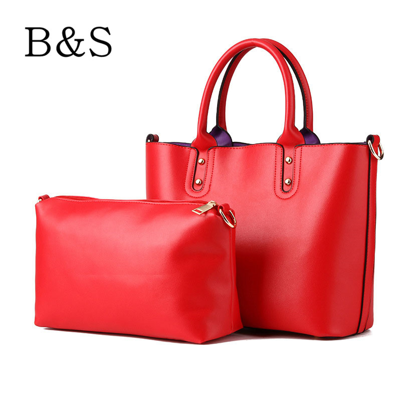 2016 Luxury Solid Color Leather Women Bags High Quality Composite Bags Design Women Handbags Shoulder Bag Clutch Cross-Body Hobo(China (Mainland))