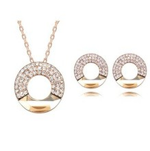 Crystal Jewelry Set Necklace Earrings Branded Design 18K Rose Gold Plated Made With Swarovski Elements Crystal Stud Earrings(China (Mainland))