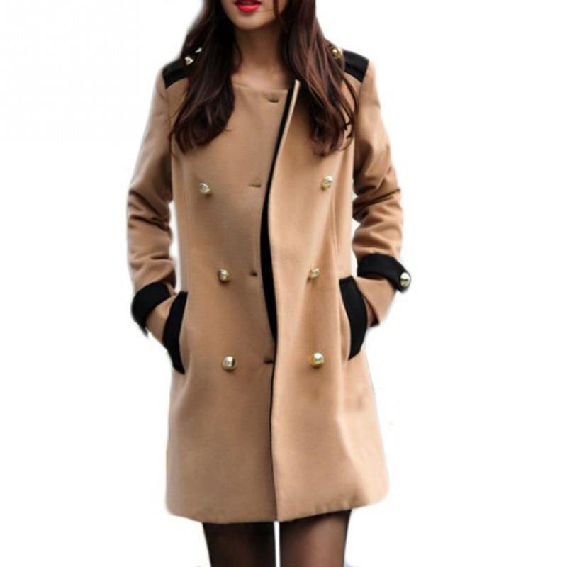 Women Double Breasted Lapel Long Coat 1pc Fashion WOmen Coat Winter warm coat