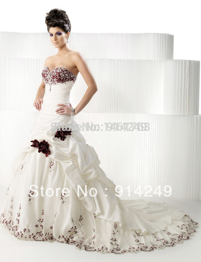cheap red and white wedding dresses appliques crystal