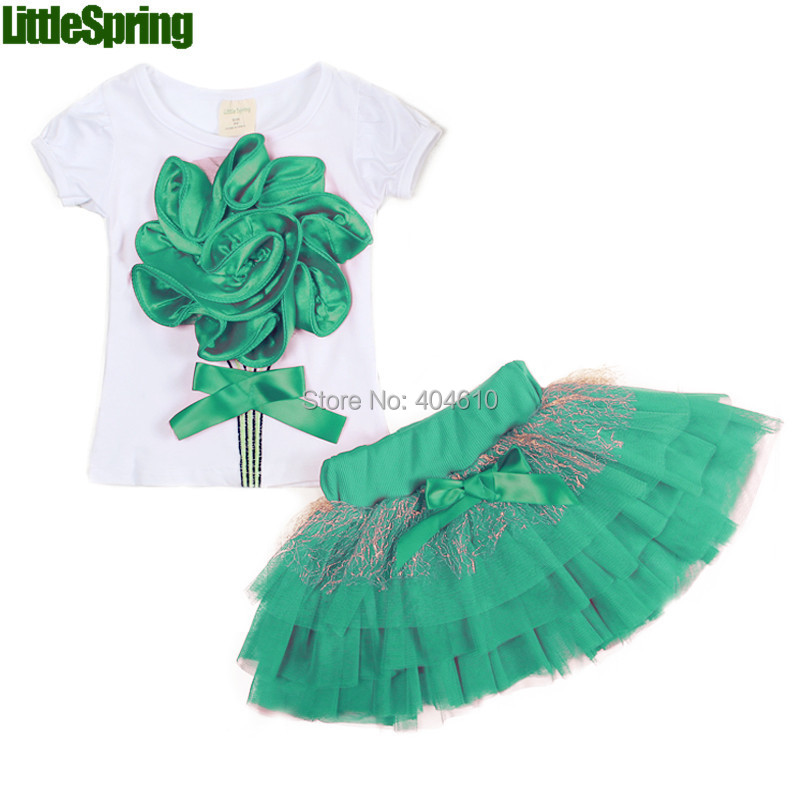 Children's Sets! Retail summer style kids clothes girls big flower t shirt skirt clothing sets - Baby Online store