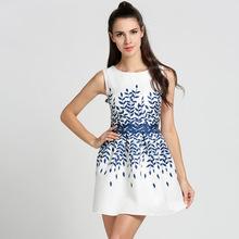 Buy 2017 Fashion Summer O-Neck Leaves Print Women Sleeveless A-Line Short Tank Dress Beach Slim Sundress Party Mini Vestido Robe U2 for $9.77 in AliExpress store