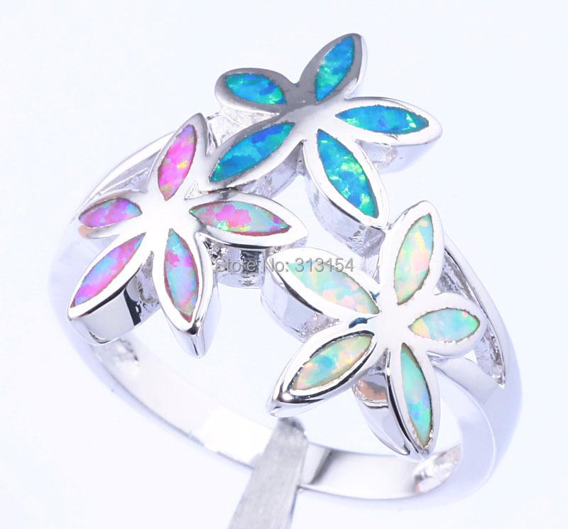 2015 Flower & Retail Women Jewelry Blue Pink White Fire Opal Silver Ring Size 7 8 9 OJ6100 - cn_jewelry store