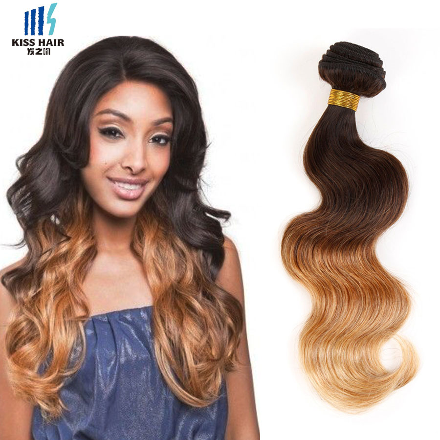 4 Bundles Tissage Indian Body Wave Ombre Human Hair Extensions T4/30/27 Ombre Weave Kiss Hair Fashion 3 tone Indian Virgin Hair