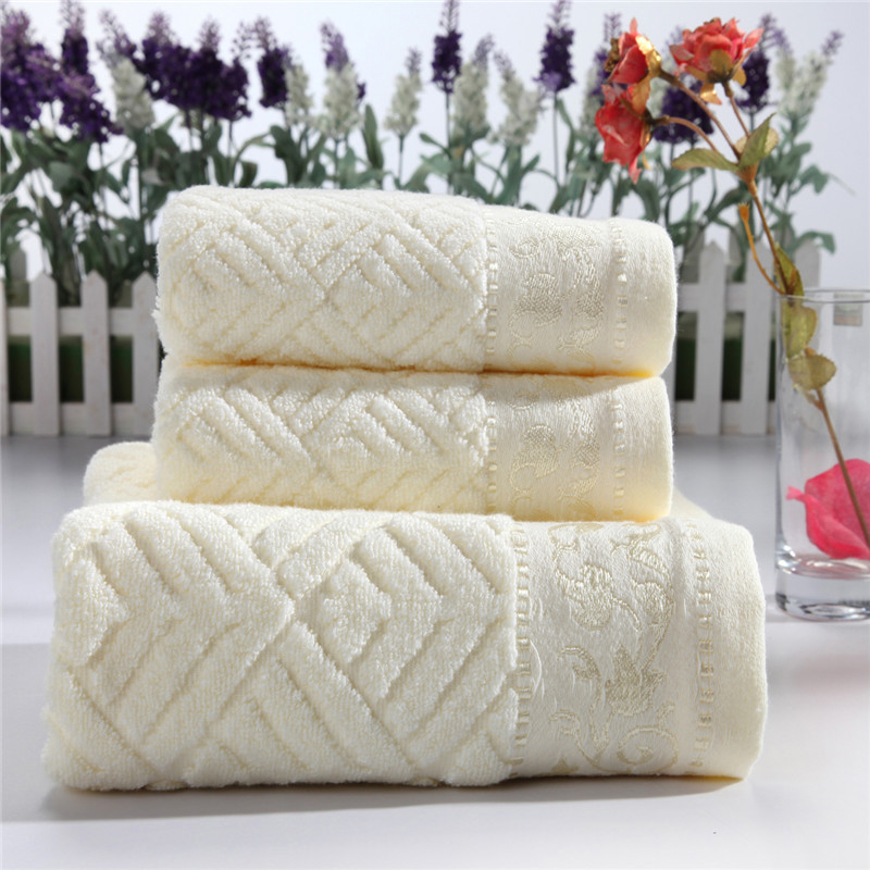3-Pieces Solid Color Untwisted Yarn Cotton Towel Set Face Towels Bath Towel For Adults Washcloths High Absorbent Antibacterial(China (Mainland))