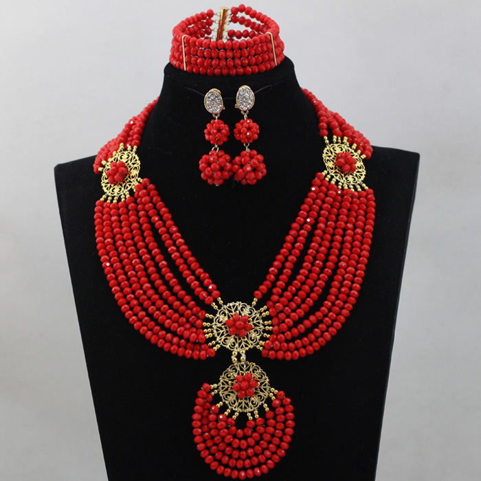 Fabulous Pepper Red Wedding Nigerian African Beads Jewelry Set 2016 Gift Party Jewelry Set for Women Free Shipping WD430(China (Mainland))