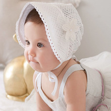Sweet Princess Hollow Out Baby Girl Hat Summer Lace-up Beanie Pink/White Cotton Bonnet Enfant for 0-12M(China (Mainland))
