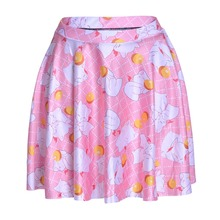 2016 new arrival women fashion polyester high waist mini skirts 3D cute cat printing girls pleated skirt Skt1208