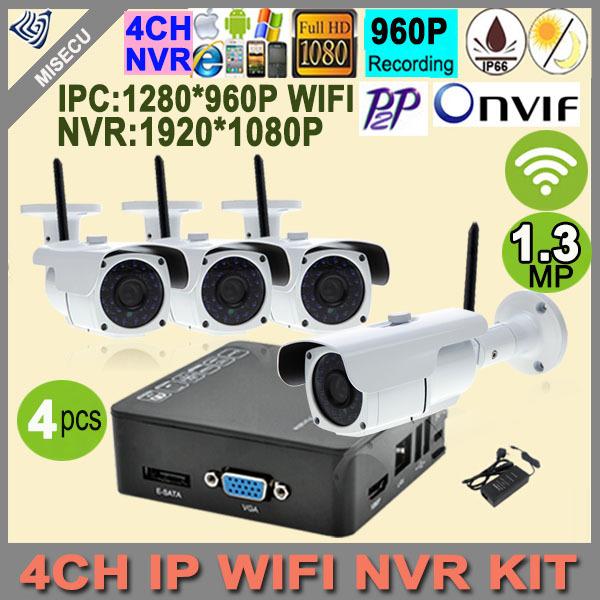 Гаджет  4CH WIFI wireless Mini 1080P NVR Onvif HDMI 4pc ip wifi 960p 1.3MP IR HD camera 1080P NVR P2P Cloud Outdoor waterproof IP CCTV None Безопасность и защита