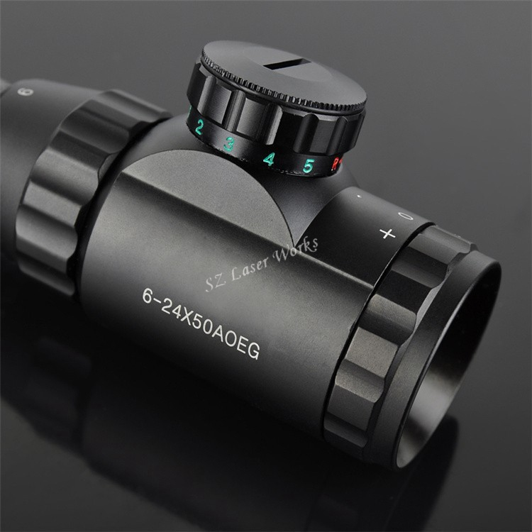 Shooting waterproof Hunting 6 24X50 AOEG Red and Green Dual Optical Sight Rifle Scope with Free