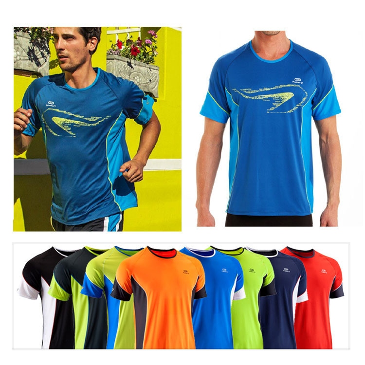 Brand Authentic Sports Apparel Tops Mens Short-Sleeve T-Shirts Running Fitness Jogging Tees Quick Dry O-Neck Free Shipping E0019(China (Mainland))