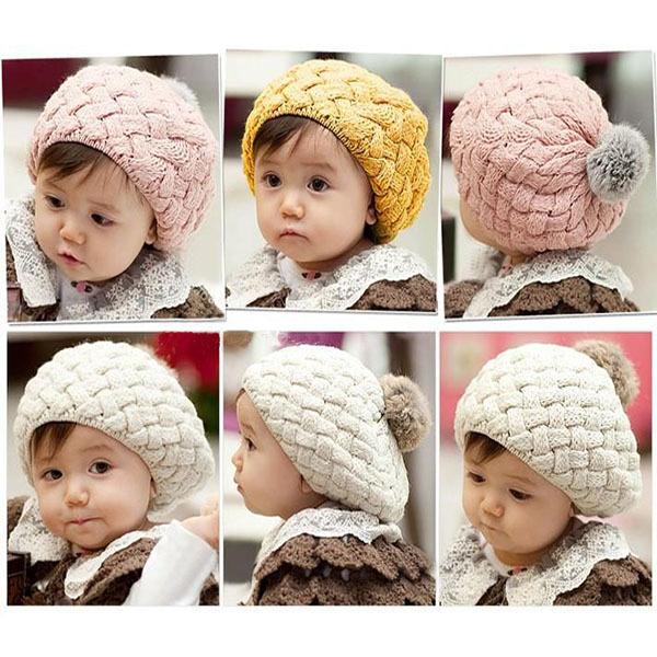 Niños niñas bebés hechos a mano del ganchillo que hace punto del casquillo del sombrero lindo caliente de la gorrita tejida 4 colores envío y envío de la gota XL145(China (Mainland))
