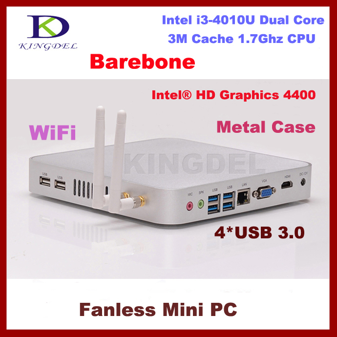 Barebone mini computer thin client nettop with Intel Core i3-4010U 1.7Ghz USB 3.0 HDMI VGA fanless+Aluminum alloy metal case(China (Mainland))