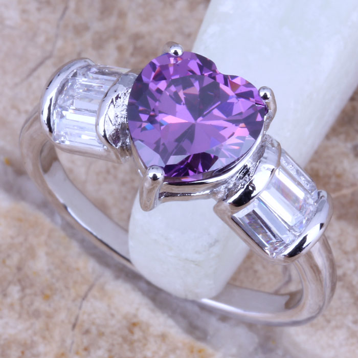 Sublime Purple Amethyst White Topaz Silver Stamped 925 Women's Jewelry Ring Size 6 / 7 8 9 Free Gift Bag R0481 - jewelry1688 store