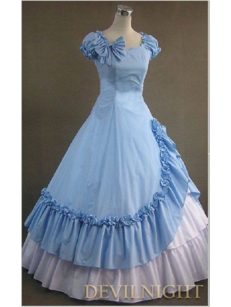 Classic Blue and White Ruffled Sweet Gothic Victorian DressОдежда и ак�е��уары<br><br><br>Aliexpress