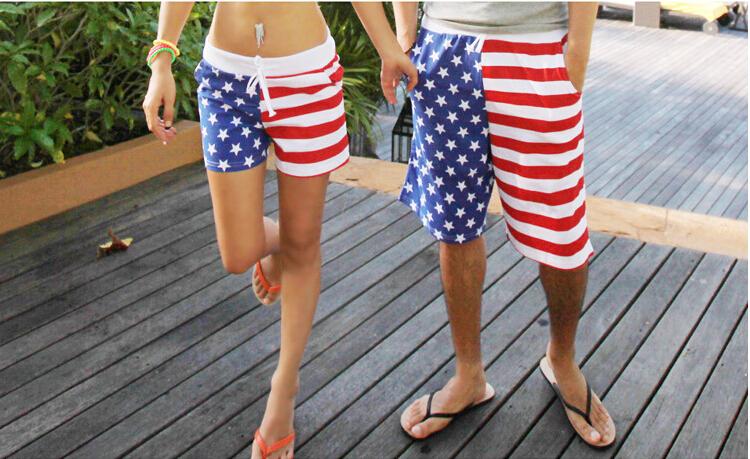 2015 new polyester peach skin Men&womens boys&girls American flag board shorts swim beach shorts USA flag swim trunks beachwear(China (Mainland))