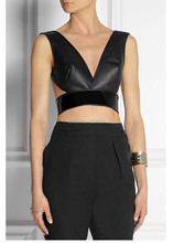 Brand Designers Deep-V Neckline Cropped Leather Tops/Fashion Women's Patent Leather Panneled Crop Tops Vintage Backless Bralet(China (Mainland))