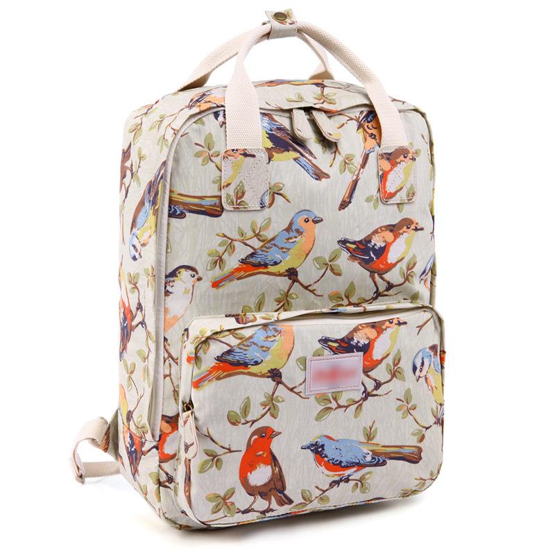2016 Retro Rose Floral Printing Backpack Vintage Women's Canvas Travel school Backpack for Teenage Girls Rucksack L1014