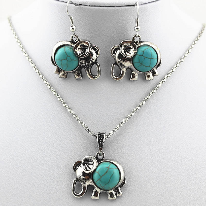 Women Ladies Silver Plated Party Jewelry Set Vintage Cute Elephant Turquoise Pendant Necklace Earrings Sets(China (Mainland))