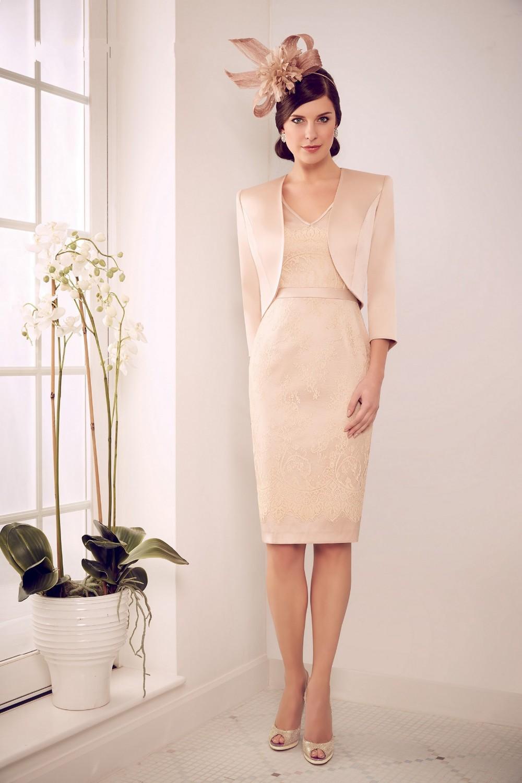 New Elegant Sheath Lace V Neck 3 4 Sleeve Satin Beige