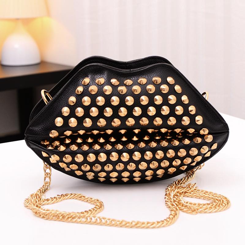 Baigou factory wholesale new handbag bag chain rivet kiss lips Shoulder Messenger Bag # Z- mouth bag(China (Mainland))