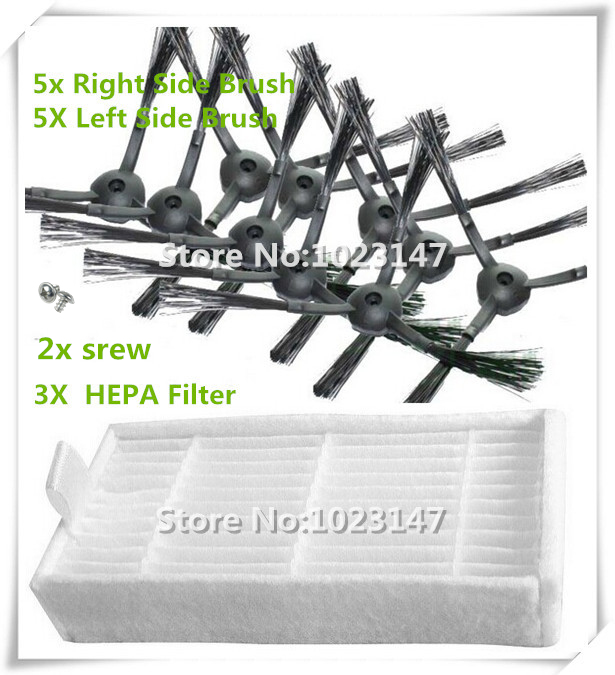 10 pieces(5x Right Side Brush +5x Left Side Brushes) + 2 srew and 3 pcs Hepa filter for Panda X500 ECOVACS Robot X500 X580 CR120(China (Mainland))