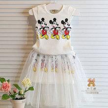 ** 2016年夏天品牌棉質女童童裝(2件式-></noscript>上衣+裙子)