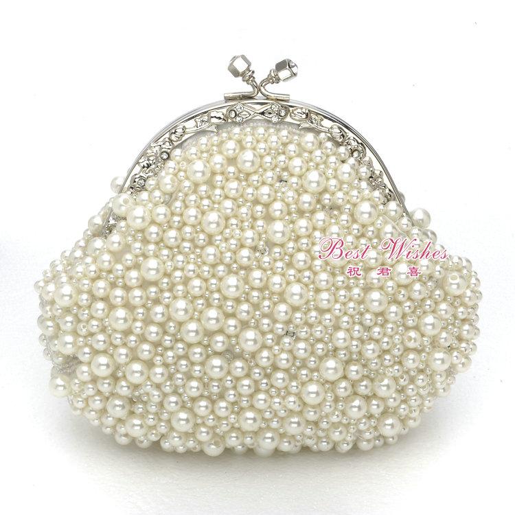 eb7700 Handmade beads and rhinestone pearl embroidered women's tote handbag(China (Mainland))