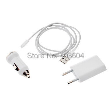 Free Shipping 3-in-1 8 Pin Adapter to USB Data and Charging Cable and Car Charger for iPhone 5/5S/5C/6 iPad mini/Air(China (Mainland))