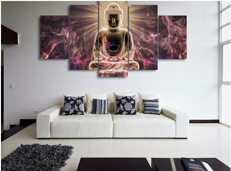 Modern buddha painting print picture wall art buddha printed canvas printed pictures 5 pieces buddha canvas art