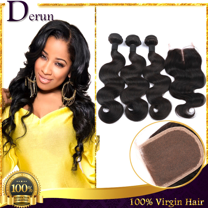 3 Bundles Brazilian Virgin Hair Weft Body Wave With Closure 6A Human Hair Bundles Weave Wavy Hair Extensions With Lace Closure(China (Mainland))