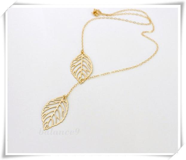 Мода Дизайн золото гальваническим пирсинг листья ожерелье & Винтаж заявление простой ключицы цепи ожерелье для женщин