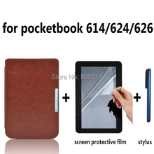 Leather Case Cover funda for Pocketbook touch 614/624/626/640 Pocket book basic Lux Aqua ereader e-Books Case+film+stylus