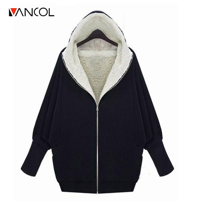 Vancol 2016 Autumn Winter European Thick Lambs Wool Hooded Jacket Oversize weater Coat Thicken Black Grey Loose Hoodies Women(China (Mainland))