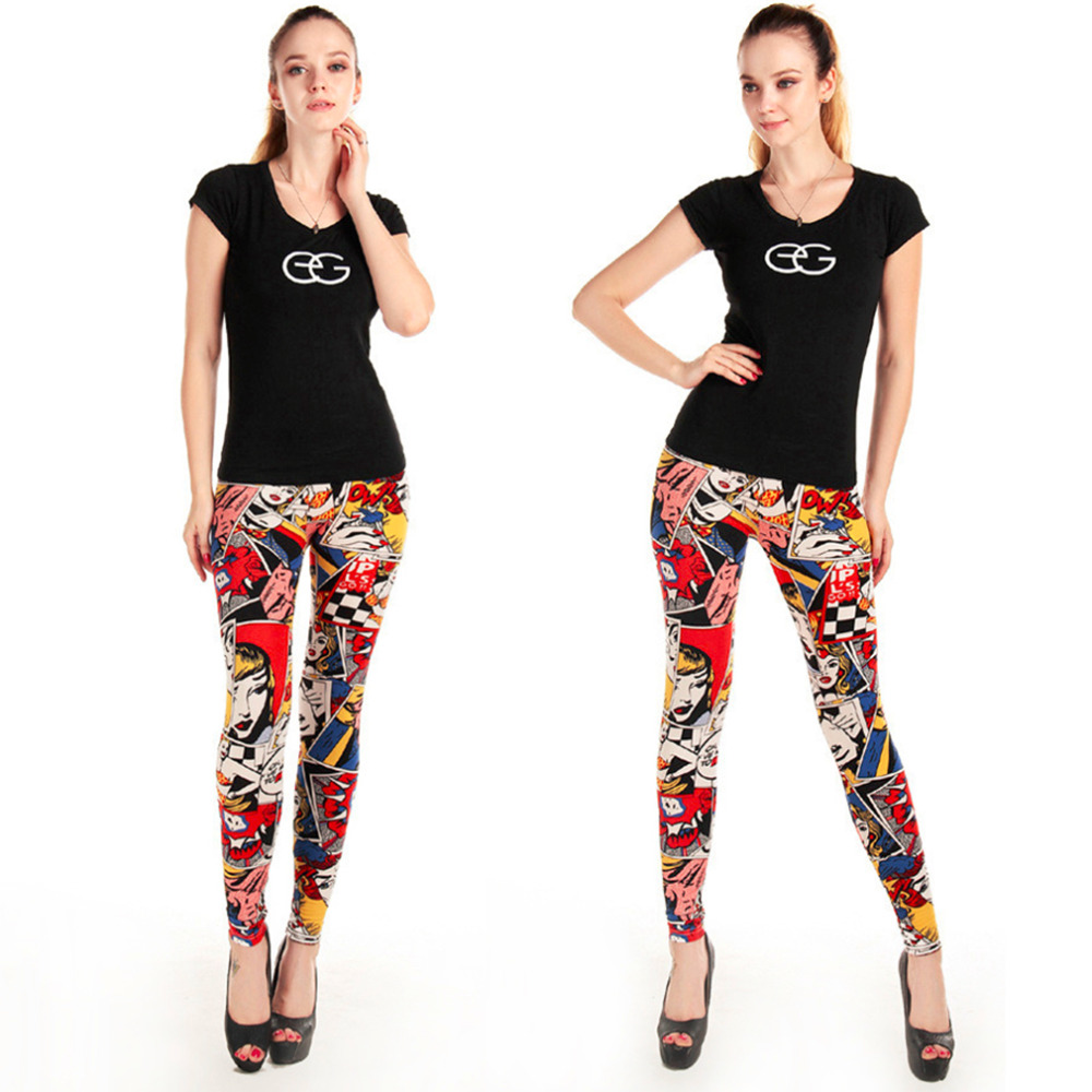 New Trendy Letters Graffiti Elastic Sexy Slim Leggings Pants for Women Drop Shipping(China (Mainland))