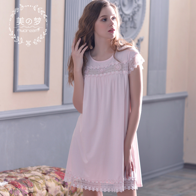 Lace Short Sleeve Modal+Cotton Nightgown Girls 2015 Summer Knitted Cotton Nightdress Knee-Length Luxury Sleepwear SD15003(China (Mainland))