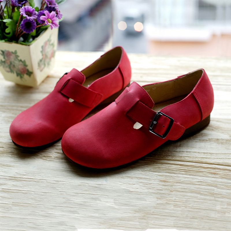 Hand-made Genuine Leather Flat Shoes Coffee/Red/Black Japanese School Uniform Shoes Round Toe Slip on Loafers  (D1501)<br><br>Aliexpress